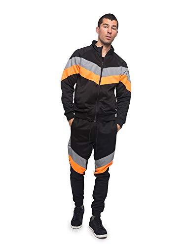 Men's Reflective Neon Track Suits 2 Piece Sweatsuit Set ST580 - Black/Neon Orange - 4X-Large - II14I