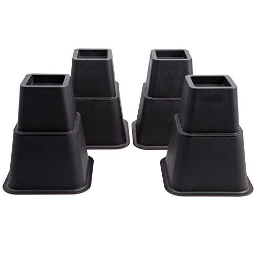 Möbelerhöher höhenverstellbar (3 Verschiedene Höhen) Betterhöhung Möbelerhöhung Tischerhöher Möbel Erhöhung Elefantenfuß Bed Riser Set 8 Stück (4 hohe + 4 Kurze) für Füße bis 68x68 mm Schwarz