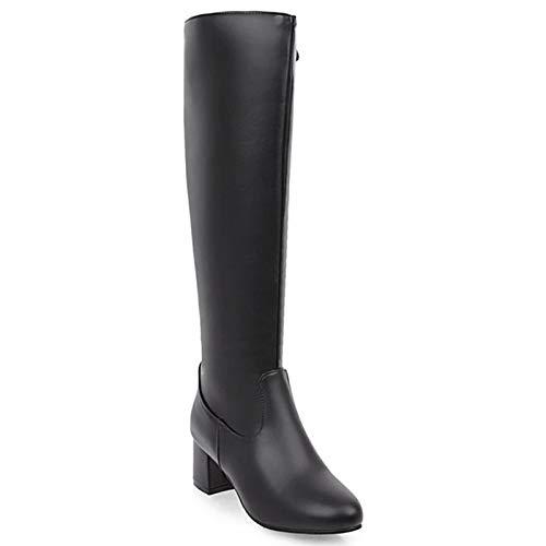 KKJKK Moda Botas hasta Las Rodillas Talla Grande Botas Altas de Mujer Sexy Botas de Mujer Cabeza Redonda Calentar Botas Largas Invierno Señoras Botas Casuales Zapatos,Negro,EU39