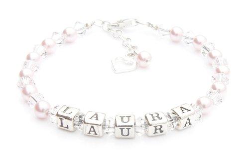 Bracelet de baptême avec perle rose – Bracelet avec nom argenté – Boîte personnalisée