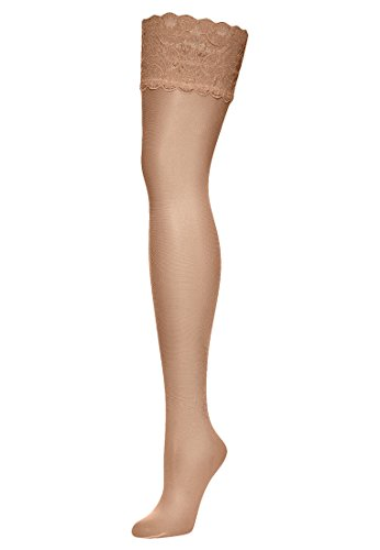 Wolford Damen Halterlose Strümpfe & Socken (LW) Satin Touch 20 Stay-Up, 20 DEN,gobi,Large (L)