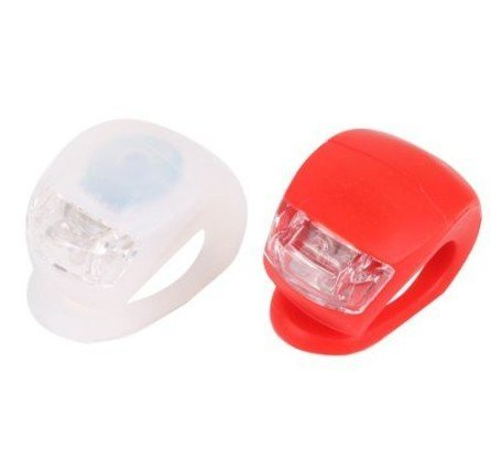 S-LOVE 2Pcs LED-Klemmlichter mit Silikonband für Fahrrad, weiß rot
