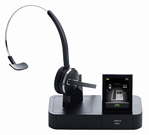 Jabra Pro 9470 Mono professionelles Wireless-DECT-Headset für Festnetztelefon/Handy/PC-Softphone, Touchscreen-Basis mit Bluetooth, abhörsicher