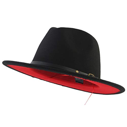 Eric Carl Trend Red Black Patchwork Wool Felt Jazz Fedora Hat Casual Men Women Leather Band Wide Brim Felt Hat, Small-Medium