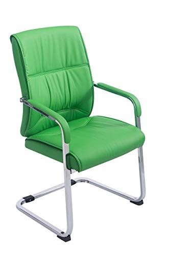 CLP XXL-Freischwinger Anubis mit Kunstlederbezug und gepolsterter Sitzfläche I Pflegeleichter Konferenzstuhl mit Armlehne, Farbe:grün