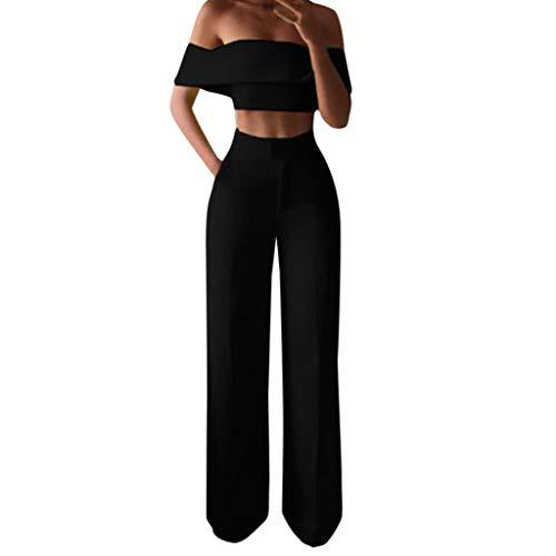 Ansenesna Damen Kleidung Set Schulterfrei Crop Shirt und Hose High Waist Weites Bein Gerade Outfit (Schwarz,M)