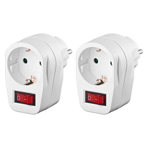 2x Schutzkontaktsteckdose | Steckdosenschalter | schaltbare Steckdose | beleuchteter Schalter | Netzdose mit Schutzkontakt | Sicherheitsschalter | Zwischensteckdose | 2 Stück