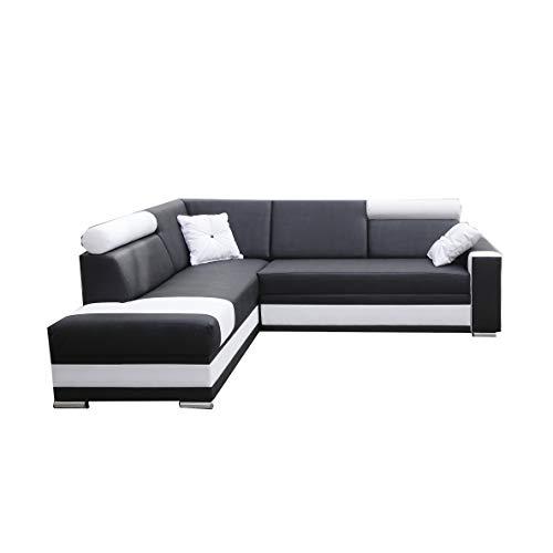 Canapé d'angle Noir Cuir Confort