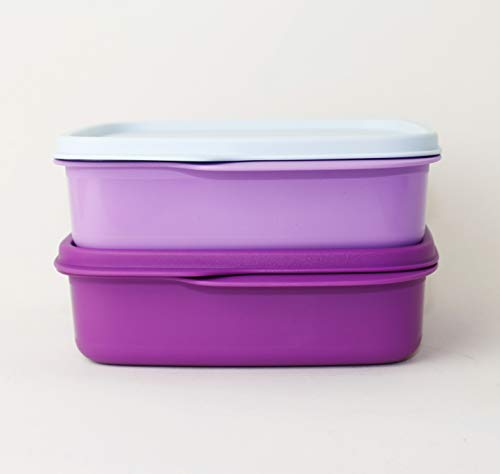 TW TUPPERWARE Lunchbox Brotdose 1x 550ml Lila-Mint + 1x 550ml Fuchsia + Küchensternchen Messlöffel 5ml