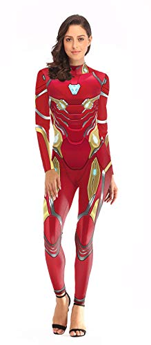 NVHAIM Avengers 4 Iron Man Manmsuit, Adulto Fancy Dress Traje Super Heros Halloween Cosplay Disfraces para Female Spandex Body Escenario de pelicula,Adult XL