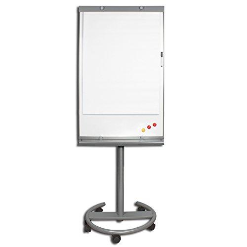 Flipchart op wieltjes deluxe whiteboard magnetisch in hoogte verstelbaar inclusief papieren magneten markeerspons