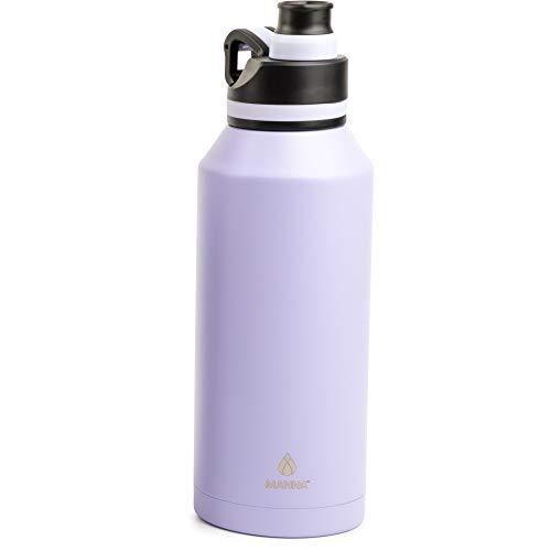 Manna Doppelwandige, vakuumisolierte Edelstahl-Trinkflasche | 900 ml Jumbo | auslaufsicherer Deckel | Ausgießer Deckel | Lila (Lila)