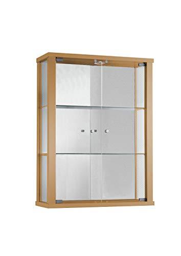 Vitrine en verre et bois de hêtre (80 x 60 x 25 cm) avec 2 tablettes d'étagère en verre, LED et miroir