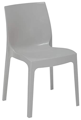 Grandsoleil su ghiaccio Higlopp sedia impilabile, in policarbonato, colore: grigio perla, 54x 52x 81cm