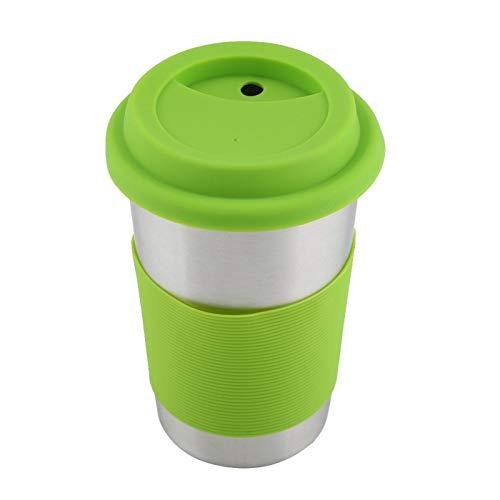 Oumefar Taza de Acero Inoxidable de 500 ml Taza de café con Tapa de Silicona Aislamiento térmico Agua Botella de Cerveza para Acampar Taza de Viaje Fiesta Uso en el hogar(Green)