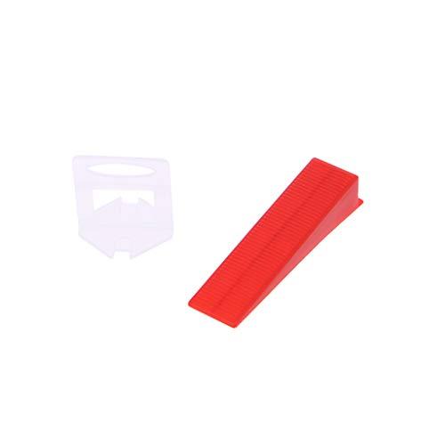 Yintiod kunststof keramiek tegels nivelleringsysteem tegels nivellering 100 clips + 100 wiggen tegels vloerbedekking gereedschap wiggen clips