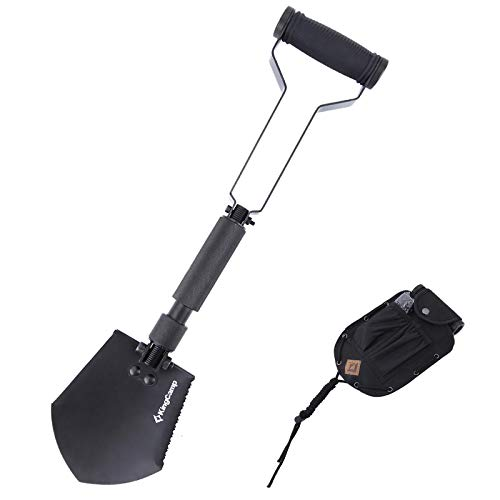 KingCamp Folding Camping Shovel Smart Spade Serrated Edge MultiFunction Shovels Durable HeavyDuty Survival Shovels with Super Bright Flashlight for  Hunting Tactical Industrial and Outdoor