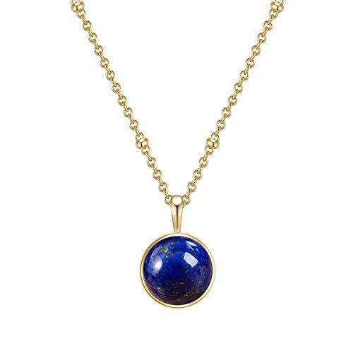 Glanzstücke Damen-Kette Sterling Silber gelbgold mit Anhänger Lapislazuli blau Länge 40 cm + Verlängerung 5 cm - Edelsteinkette für Frauen Heilsteine Lapis-lazuli