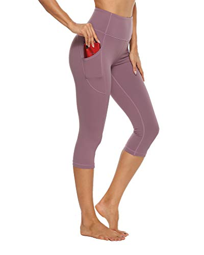 STELLE Women's Capri Yoga Pants with Pockets High Waisted Legging for Gym Workout (Dusty Lavender, Medium)