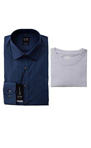 OLYMP Hemd, Blau, Body Fit Level Five, inklusive T-Shirt (44)