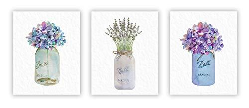 "Flower Mason Jar Prints, UNFRAMED set of 3, 8"" X 10"" Wall Art on Archival Photo Paper, Rustic Wall Art, Floral Decor"