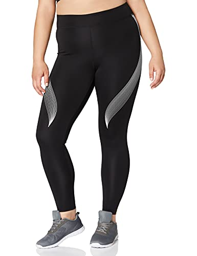 Marca Amazon - AURIQUE Bal181la18 - leggings deporte mujer Mujer, Negro (Black/White), 38, Label:S