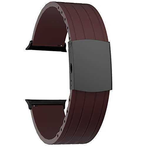 SOUWILA Compatible con Silicona Correa Reloj 38 mm 40 mm 42 mm 44 mm iWatch Series 6/5/4/3/2/1 Caucho Correa Reloj con Acero Inoxidable Hebilla Desplegable (42mm, Brown-Black)
