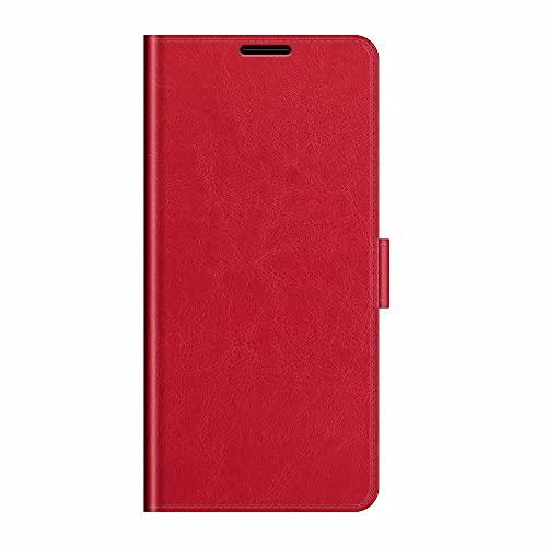 DOHUI Funda para Motorola Edge 20 Pro, PU Cuero Flip Folio Carcasa [Función de Soporte] [Ranuras para Tarjetas] [Cierre Magnético] Funda para Motorola Edge 20 Pro Funda Libro (Rojo)