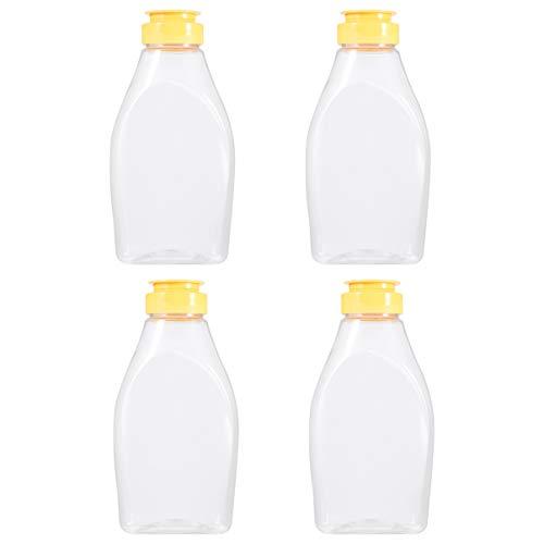 Cabilock 4 Stück Honig Quetschflasche Plastik Honiggläser Plastik Gewürzdosen mit Deckel Honigbehälter für Laden Cafe Küche nach Hause (500G Kapazität)