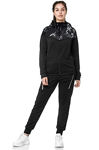 Violento Damen Trainingsanzug | 0984 (L, Schwarz-Camo)