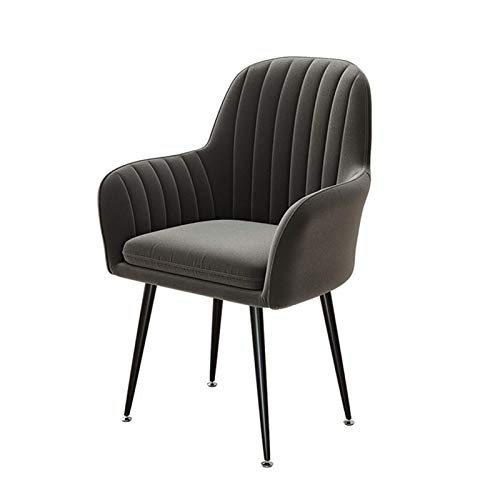 Dining Chairs Velvet Seat Back Support with Arms Rest Kitchen Chairs Cushioned Pad with Metal Black Legs Dining Office Lounge Chair (Color : Dark Gray)