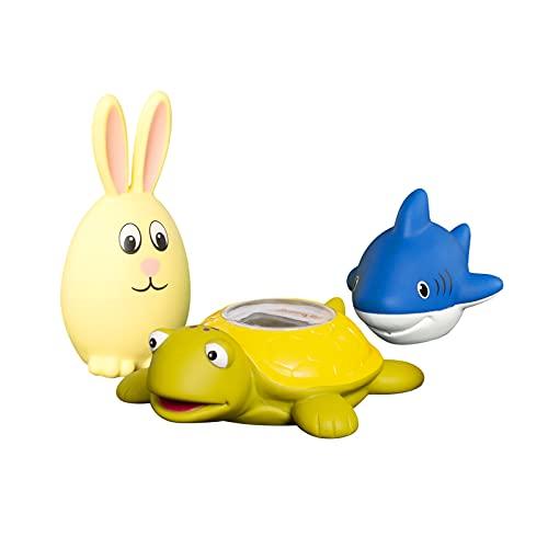 Doli Yearning 1 termometro da bagno tartaruga, 1 giocattolo da bagno per coniglio e 1 squalo, termometro da vasca disponibile per Fahrenheit e Celsius(℉ / ℃)