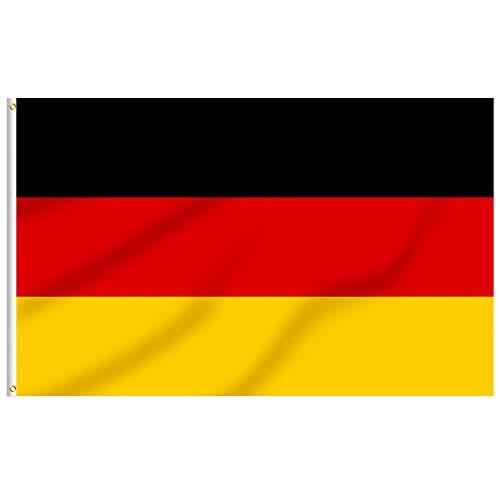 FLAGBURG Deutschland Flagge 150 x 240 cm Bundesfahne mit Messingösen, Lebendige Farbe und UV-beständig, Leinwand-Header und Doppelt Genäht Langlebig Germany Flag, für Draußen und Drinnen
