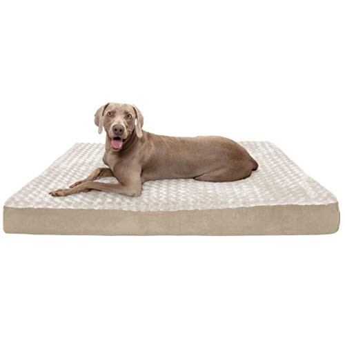 Furhaven cooling gel foam pet bed for dogs and cats - classic cushion ultra plush curly fur dog bed mat with removable washable cover, cream, jumbo plus (xx-large)