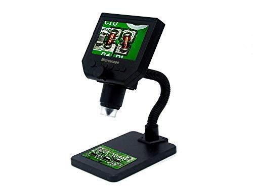 JKUNYU Microscopio 1-600x 3.6MP USB Microscopio electrónico Digital Portátil 8 LED microscopio VGA con Pantalla OLED de 4.3'para la reparación de la Placa Base PCB (Color : 1 600X Curved Stand)