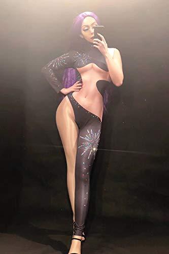 Strass Jumpsuit Für Frauen Nightclub Bar Stitching Bodysuit Bühnenauftritt Dj Gogo Pole Dance Overalls Club Wear,S