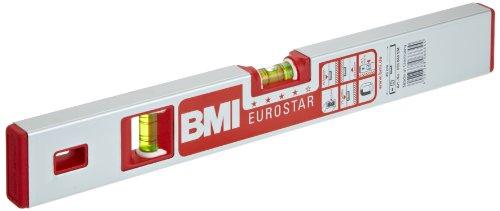 BMI 690040EM Wasserwaage Eurostar 40 cm | aus Aluminium, eloxieret, mit Magnet, 2{af4e68c6dd3e174567d12e324da1ca97fc5b60b7a51a3a21199efbf6ee2cb334} Gefällemarkierung | Libellen: 2, laserskaliert (Patent), Länge 40cm
