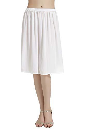 BEAUTELICATE Femme Jupon Lingerie sous-Jupe Robe Mousseline de Soie Blanc Noir Ivoire Court Mi-Long Chiffon pour Marige Fille Nude Bleu Foncé