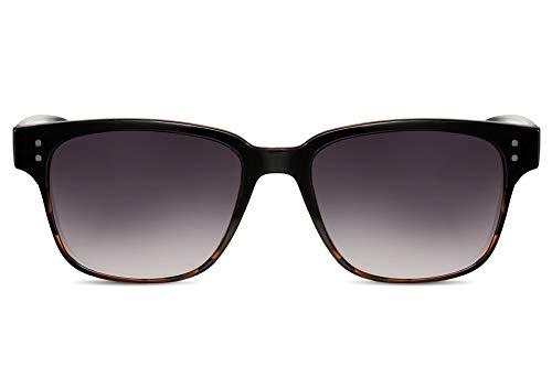 Cheapass Gafas de Sol Fashion Grandes Montura Negras Demi con Cristales Morados Ahumados Look Clásico UV400 Mujer Hombre