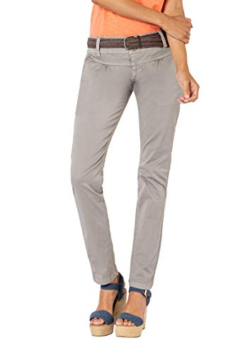 Urban Surface Damen Chino Stoff-Hose mit Flecht-Gürtel Middle-Grey M