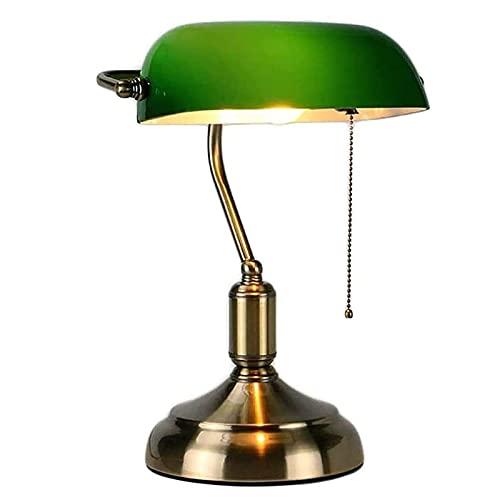 Traditionelle Bankerlampe, Schreibtischlampe, aus Metall, antik, mit Kette, Lampenschirm aus Glas, grün, Nachttischlampe für Schlafzimmer Messing Finish