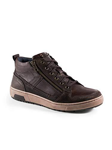 Walbusch Herren Kalbsleder Sneaker High Top einfarbig Braun 43