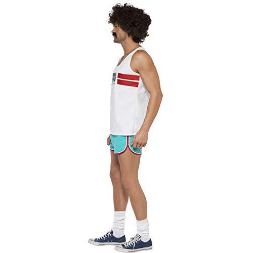 Smiffy'S - Disfraz de Corredor 118118, con Shorts y Top, Color Blanco, M-Tamao 38'-40' (33322M)