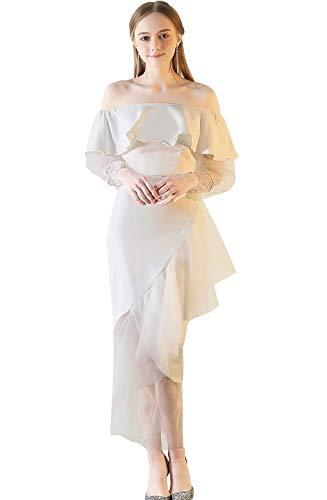 Off the Shoulder Long Sleeve Satin Wedding Dress -
