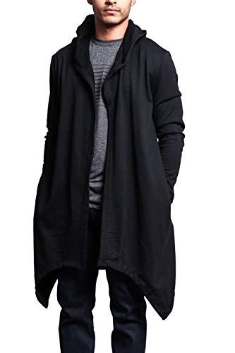 Victorious Men's Long Length Cloak Cardigan Hoodie JK701 - Black - Large - J7A