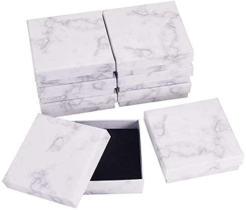 Recet Joyero, mármol, caja de joyas, collar, pulsera, anillos, caja de cartón, para regalo, organizador de joyas, rectangular/cuadrado (18 unidades de 9,1 x 9,1 x 2,9 mm)