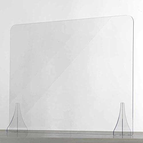 Spuckschutz Plexiglas aus Acrylglas - Glasklar Plexiglas Schutzwand - sichern Spuckschutz Thekenaufsatz ohne Durchreiche - Farblose Plexiglas Platten - Virenschutz (80x75 cm) - Seven Group
