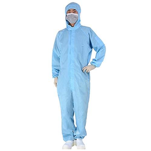 QIAN 1PC Einweg Schutzanzug für leichte Malerarbeiten, Lackierarbeiten, Reinigungsarbeiten, Maleranzug Schutzkleidung Lackieranzug Einweganzug Overall mit Kapuze (Blue, S)