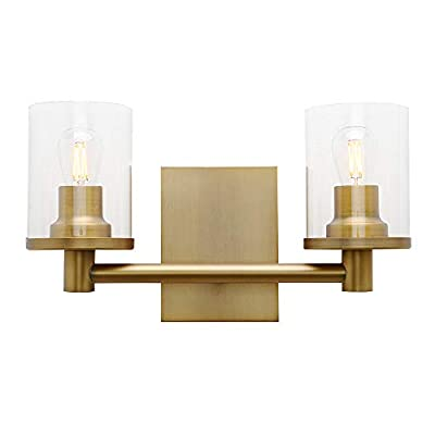 Pathson 2 Light Wall Sconce, Vintage Bathroom Wall Light Fixtures with Clear Glass Shade and Metal Base, Industrial Wall Mount Lamp for Bedroom Vanity Mirror Hallway Kitchen (Antique)