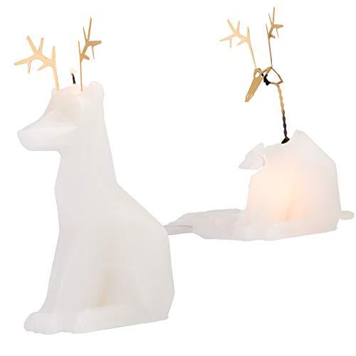 PyroPet Dýri Weiß - Tierkerze Rentier mit Skelett